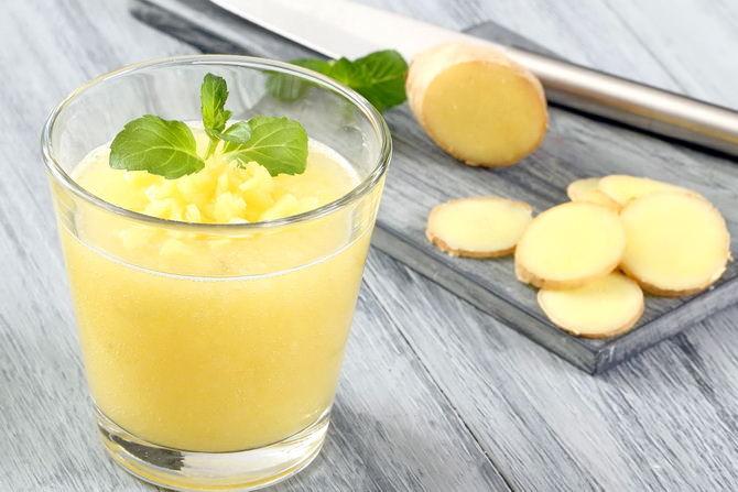 Смесь из имбиря, лимона и меда