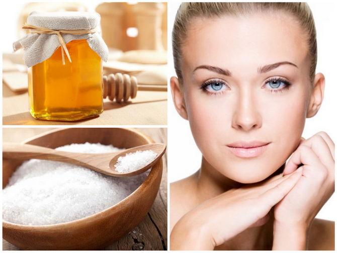 Маска с медом и солью для лица